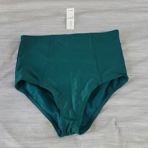 Teal High Waisted Bikini Bottom (Small)